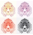 Low poly lined lions set vector image