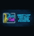 neon jazz cafe and saxophone glowing sign with vector image vector image