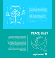 peace day symbols pigeon with olive branch tree vector image vector image