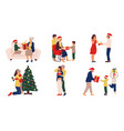 people with christmas presents winter celebration vector image vector image