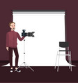 photographer man standing holding camera with vector image vector image