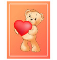poster with cute teddy bear holding heart balloon vector image vector image