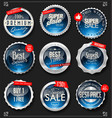 retro vintage silver and blue badges and labels vector image vector image
