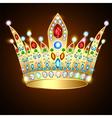 royal shiny gold crown with precious stones vector image vector image