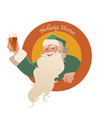 santa claus holding a glass of beer-01 vector image vector image