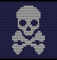 seamless skull knitting pattern vector image