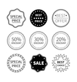 set nine black and white retro badges vector image vector image