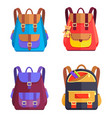 set of colorful rucksacks for girls or boys vector image vector image