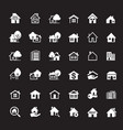 set white house icon real estate outline elements vector image