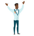 successful african-american groom jumping vector image vector image