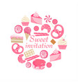 sweet invitation cute pink sweet card vector image vector image