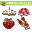 vegetarian cuisine food dishes or vegan veggie vector image vector image