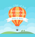wedding invitation card with flying hot air vector image vector image