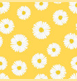 White aster daisy seamless on yellow background