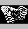 white silhouette skull and flag usa vector image vector image