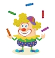 Circus clown juggling candies vector image