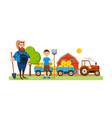 farmer on agricultural plot engaged ennoblement vector image