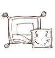 monochrome two sleeping pillows isolated on white vector image