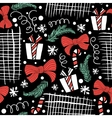 Seamless Holiday hand drawn pattern with gift vector image