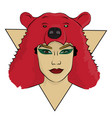 a girl with a bear skin on her head eps 8 vector image vector image