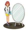A schoolgirl standing beside the mirror vector image vector image