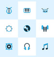 audio icons colored set with music earphone vector image vector image