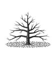 autumn branchy lonely tree with fallen leaves vector image