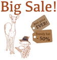 Big Sale with cute deer trendy hat vector image vector image