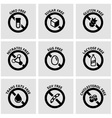 black food dietary labels icon set vector image vector image