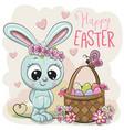 Cartoon bunny with a basket easter eggs