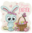 cartoon bunny with a basket of easter eggs vector image vector image