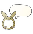 cartoon rabbit and speech bubble in smooth vector image vector image