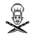chef head with mustache and crossed knives vector image