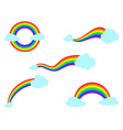 colorful rainbow with cloud icons set vector image vector image