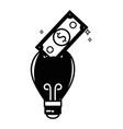 contour bulb save bill cash money inside vector image vector image