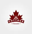 cottage with canadian maple leaf logo vintage vector image vector image