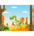 Cute baby tyrannosaur with the desert background vector image vector image
