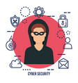 data center security with hacker vector image vector image