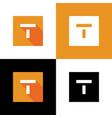 digital letter t icon design orange square shape vector image vector image