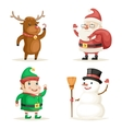 Elf Deer Snowman Santa Claus Cartoon Characters