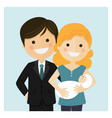 family with a newborn baby on blue background vector image vector image