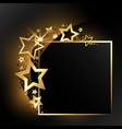 festive gold frame with stars vector image
