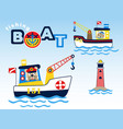 fishing boats cartoon with cute fisher vector image