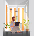 freelancer using laptop man working from home self vector image