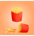 French fries potato and red paper Box vector image vector image