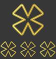 Golden line cloverleaf logo design set vector image vector image