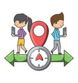 gps design with woman and man icon vector image vector image