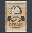 hammer and helmet repair tools workshop poster vector image