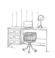 Hand drawn workplace Furniture sketch vector image vector image