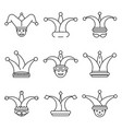 jester icon set outline style vector image
